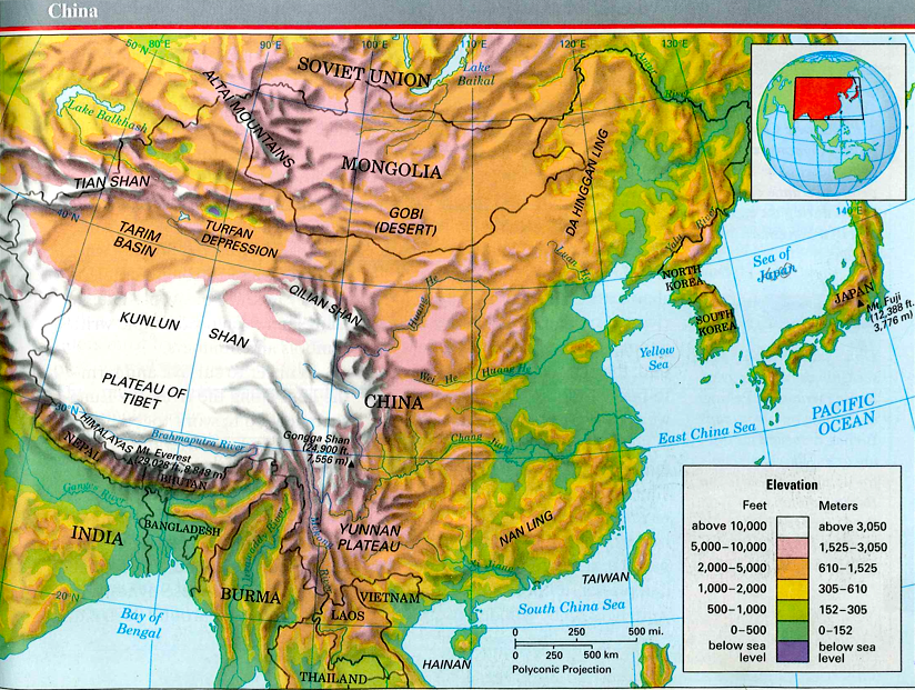 Topographic Map of China