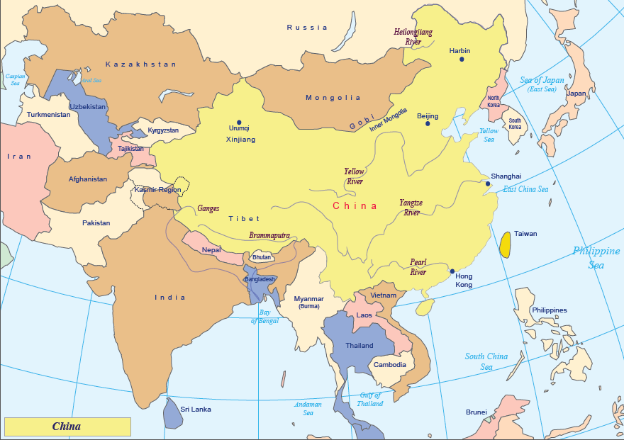 map of China today