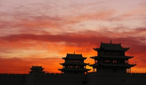 Sunrise at Jiayung Pass Tower, Gansu