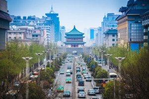 shutterstock_142552603 Shaanxi, the street scene of xian,bell tower in the center of ancient city,China