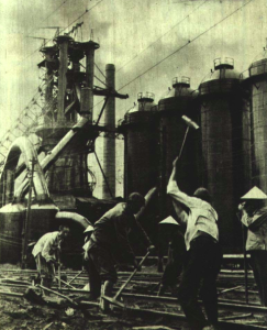 Chinese Workers rebuilding rail line 1950