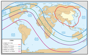 Map of range of Chinese Missiles